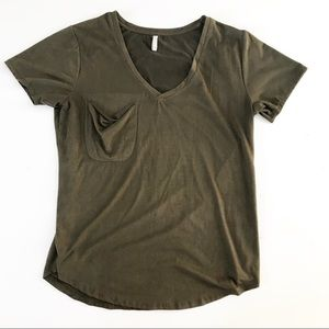 Z Supply Pocket T Shirt Top v neck Large soft